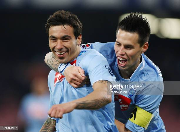 Ezequiel Lavezzi of SSC Napoli celebrates the opening goal with his teammate Marek Hamsik during the Serie A match between SSC Napoli and ACF...