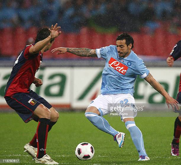 Ezequiel Lavezzi of SSC Napoli in action during the Serie A match between SSC Napoli and Genoa CFC at Stadio San Paolo on April 30 2011 in Naples...