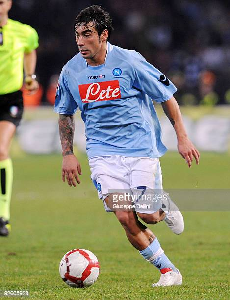 Ezequiel Lavezzi of SSC Napoli in action during the Serie A match between SSC Napoli and AC Milan at Stadio San Paolo on October 28 2009 in Rome Italy