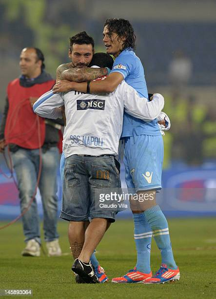 Ezequiel Lavezzi Walter Gargano and Edinson Cavani of SSC Napoli celebrate after the Tim Cup Final between Juventus FC and SSC Napoli at Olimpico...