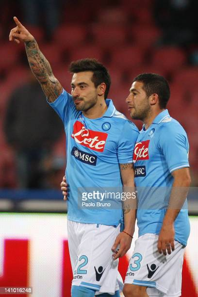 Ezequiel Lavezzi with celebrates with his teammate Walter Gargano of SSC Napoli after scoring the fourth goal from the penalty during the Serie A...