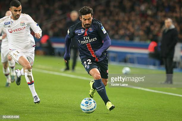 Ezequiel Lavezziof Paris SaintGermain during the French Ligue Cup between Paris SaintGermain and Olympic Lyonnais at Parc Des Princes on january 11...