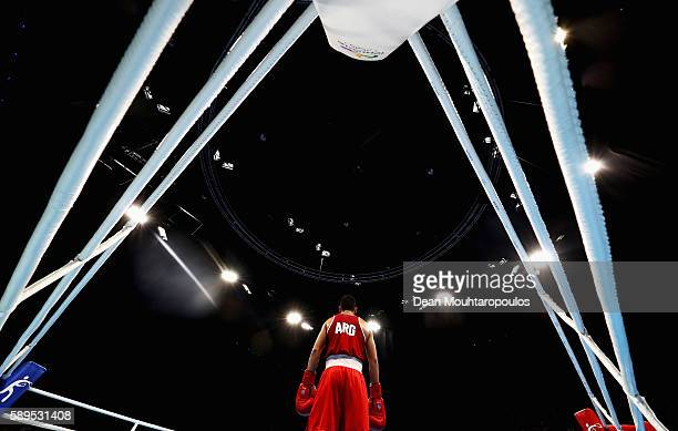 Ezequiel Melian Alberto of Argentina looks on from the corner against Bilel Mhamdi of Tunisia as they compete in their Bantamweight 56kg men boxing...