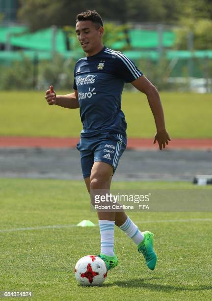 Ezequiel Ponce of Argentina controls the ball during an Argentina training session at the Jeonju World Cup Stadium Auxiliary Field ahead of the FIFA...