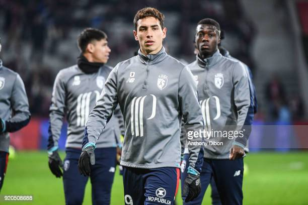 Ezequiel Ponce of Lille during the Ligue 1 match between Lille OSC and Olympique Lyonnais at Stade Pierre Mauroy on February 18 2018 in Lille