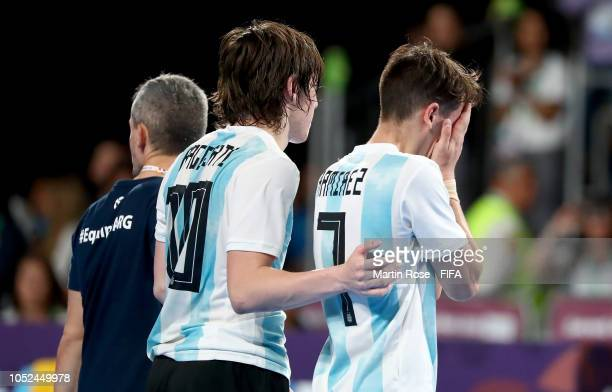 Ezequiel Ramirez of Argentina reacts in the Men's Futsal 3rd place match between Argentina and Egypt during the Buenos Aires Youth Olympics 2018 at...