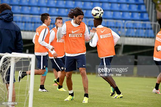 Ezequiel Schelotto during of FC Internazionale Milano training session at Appiano Gentile on July 8 2014 in Como Italy