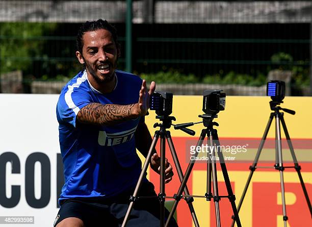 Ezequiel Schelotto in action during a FC Internazionale training session on August 5 2015 in Bruneck Italy