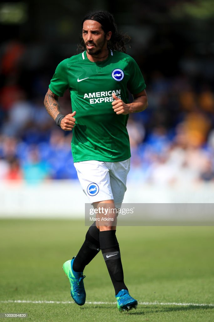 Ezequiel Schelotto of Brighton and Hove Albion during the pre season friendly match between AFC Wimbledon and Brighton and Hove Albion at The Cherry Red Records Stadium on July 21, 2018 in Kingston upon Thames, England.