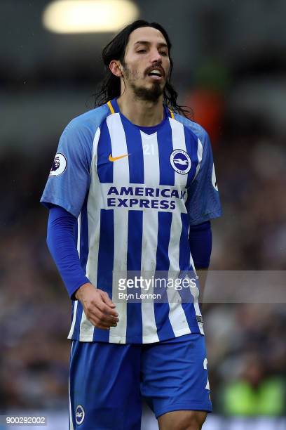Ezequiel Schelotto of Brighton and Hove Albion looks on during the Premier League match between Brighton and Hove Albion and AFC Bournemouth at Amex...