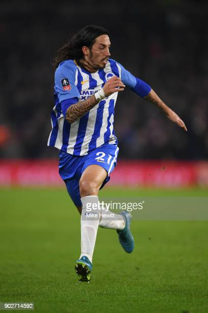 Ezequiel Schelotto of Brighton in action during The Emirates FA Cup Third Round match between Brighton Hove Albion and Crystal Palace at Amex Stadium...
