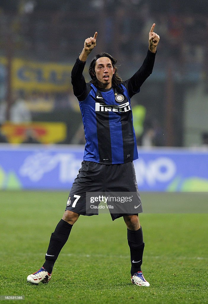 Ezequiel Schelotto of FC Inter Milan celebrates scoring the first goal during the Serie A match FC Internazionale Milano and AC Milan at San Siro Stadium on February 24, 2013 in Milan, Italy.