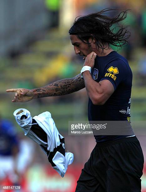Ezequiel Schelotto of Parma FC celebrates his goal during the Serie A match between Parma FC and UC Sampdoria at Stadio Ennio Tardini on May 4 2014...