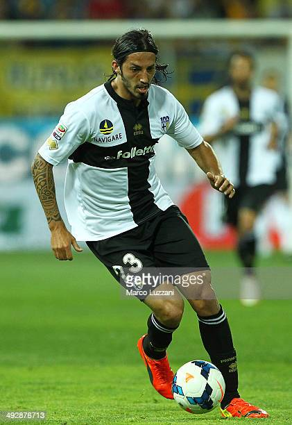 Ezequiel Schelotto of Parma FC in action during the Serie A match between Parma FC and AS Livorno Calcio at Stadio Ennio Tardini on May 18 2014 in...