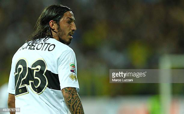 Ezequiel Schelotto of Parma FC looks on during the Serie A match between Parma FC and AS Livorno Calcio at Stadio Ennio Tardini on May 18 2014 in...
