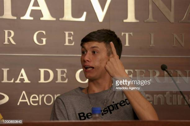 Ezequiel Villalonga Claudia Labeguerie Daniel Sgardelis sexual abuse victims of Provolo Institute in western Mendoza city of Argentina attend a press...
