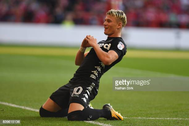 Ezgjan Aliosk of Leeds United celebrates after scoring during the Sky Bet Championship match between Nottingham Forest and Leeds United at City...