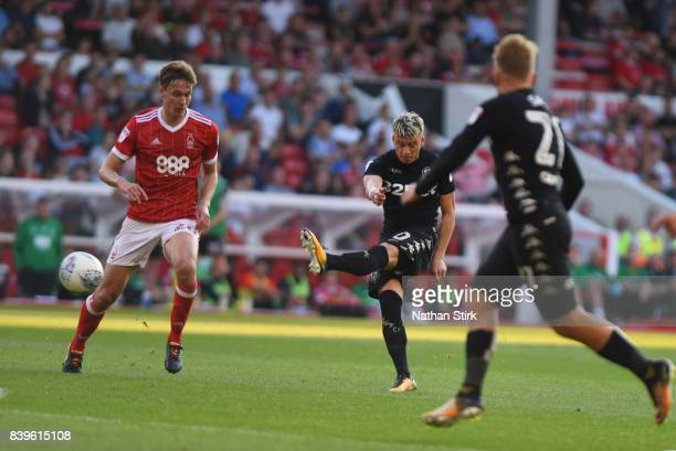 Ezgjan Aliosk of Leeds United scores the second goal during the Sky Bet Championship match between Nottingham Forest and Leeds United at City Ground...