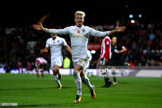 Ezgjan Alioski of Leeds celebrates after scoring the equaliser to make it one all during the Sky Bet Championship match between Brentford and Leeds...