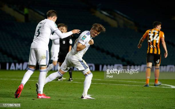 Ezgjan Alioski of Leeds United celebrates after scoring his team's first goal during the Carabao Cup Second Round match between Leeds United and Hull...