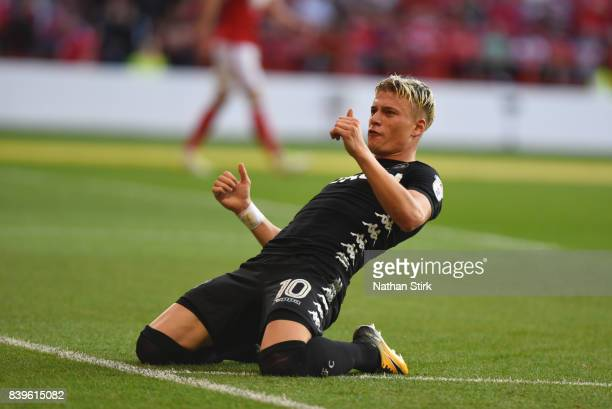 Ezgjan Alioski of Leeds United celebrates after scoring the second goal during Sky Bet Championship match between Nottingham Forest and Leeds United...
