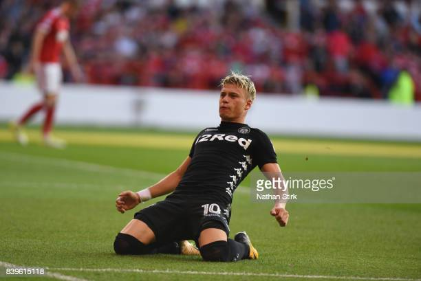 Ezgjan Alioski of Leeds United celebrates after scoring the second goal during Sky Bet Championship match between Nottingham Forest and Leeds United...