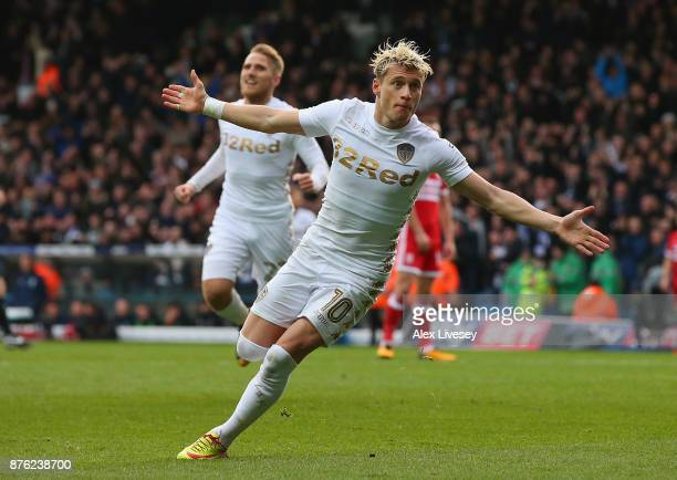 Ezgjan Alioski of Leeds United celebrates after scoring their second goal during the Sky Bet Championship match between Leeds United and...