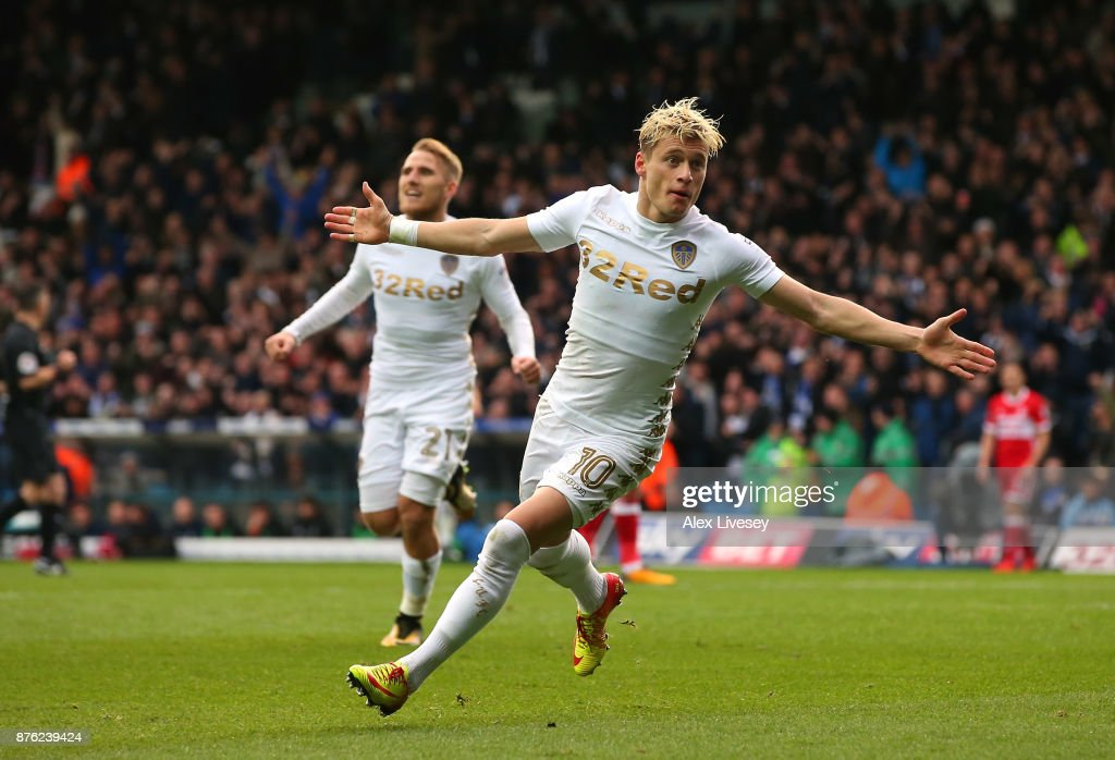 Ezgjan Alioski of Leeds United celebrates after scoring their second goal during the Sky Bet Championship match between Leeds United and Middlesbrough at Elland Road on November 19, 2017 in Leeds, England.