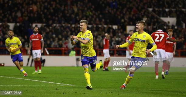 Ezgjan Alioski of Leeds United celebrates scoring his teams second goal during the Sky Bet Championship match between Nottingham Forest and Leeds...