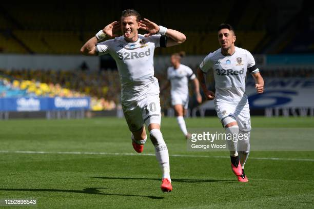 Ezgjan Alioski of Leeds United celebrates with teammate Pablo Hernandez after scoring his sides second goal during the Sky Bet Championship match...