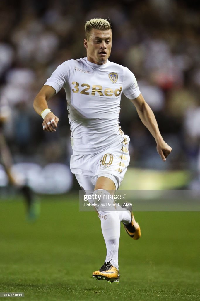 Ezgjan Alioski of Leeds United during the Carabao Cup First Round match between Leeds United and Port Vale at Elland Road on August 9, 2017 in Leeds, England.