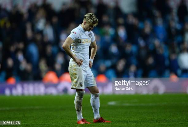 Ezgjan Alioski of Leeds United looks on after the Sky Bet Championship match between Leeds United and Millwall at Elland Road on January 20 2018 in...