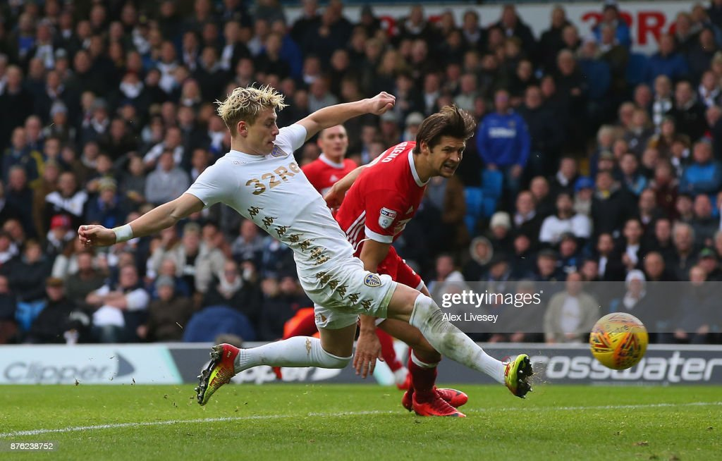 Ezgjan Alioski of Leeds United scores their second goal during the Sky Bet Championship match between Leeds United and Middlesbrough at Elland Road on November 19, 2017 in Leeds, England.