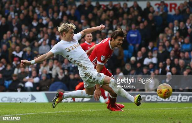 Ezgjan Alioski of Leeds United scores their second goal during the Sky Bet Championship match between Leeds United and Middlesbrough at Elland Road...