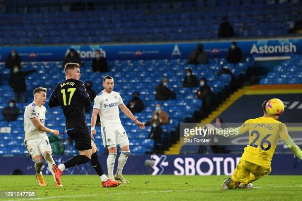 Ezgjan Alioski of Leeds United scores their team's fourth goal during the Premier League match between Leeds United and Newcastle United at Elland...