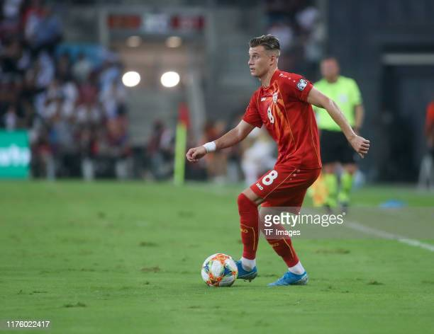 Ezgjan Alioski of North Macedonia controls the ball during the UEFA Euro 2020 Qualifier match between Israel and North Macedonia at Turner-Stadion on...