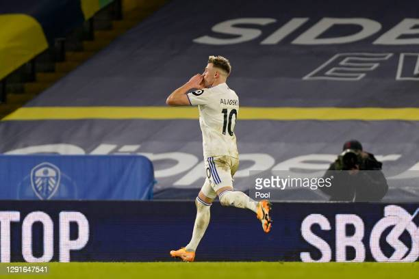 EzgjanAlioski of Leeds United celebrates after scoring their team's fourth goal during the Premier League match between Leeds United and Newcastle...