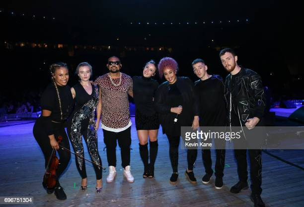 Ezi Ramsey Grace Chatto Sean Paul Kirsten Joy Yasmin Green Luke Patterson and Jack Patterson pose backstage during the 2017 BLI Summer Jam at Nikon...