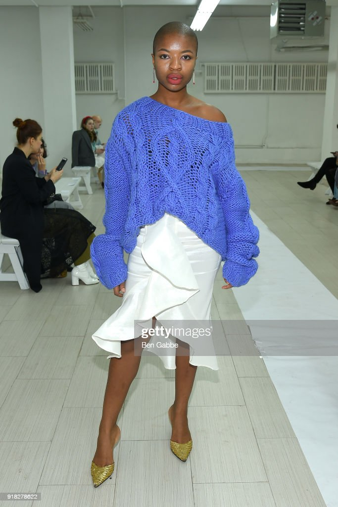 Ezinne Mgbeahuruike attends the Maki Oh fashion show during New York Fashion Week on February 14, 2018 in New York City.
