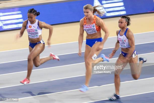 Ezinne Okparaebo of Norway Daphne Schippers of the Netherlands and Rachel Miller of Great Britain compete in the semifnals of the women's 60m event...