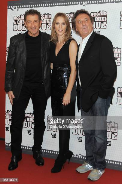 Ezio Greggio Antonia LIskova and Enzo Iachetti attend 'Occhio A Quei Due' Premiere held at Apollo Cinema on November 30 2009 in Milan Italy