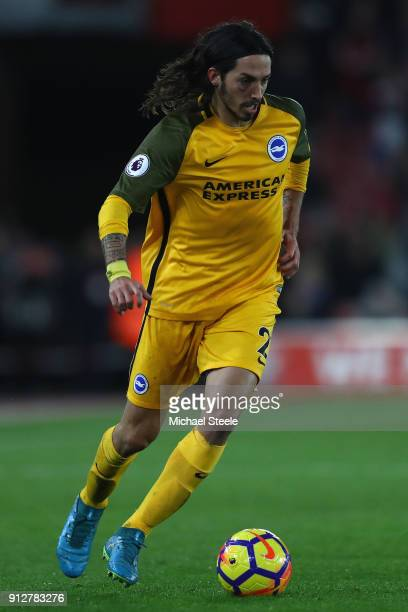 Ezquiel Schelotto of Brighton during the Premier League match between Southampton and Brighton and Hove Albion at St Mary's Stadium on January 31...