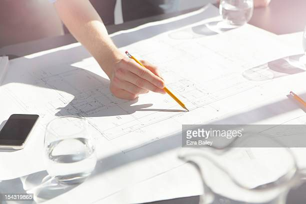 businessman drawing and making plans. - progetto foto e immagini stock