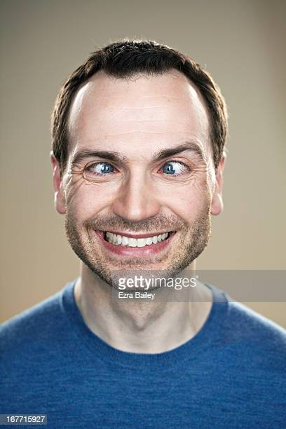 portrait of a man cross eyed. - cross eyed stock pictures, royalty-free photos & images