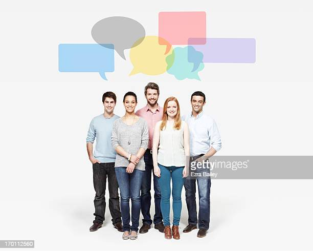 group of people under speech bubbles. - five people stock pictures, royalty-free photos & images