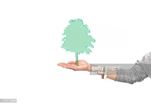 Green perspex tree on palm of a hand.