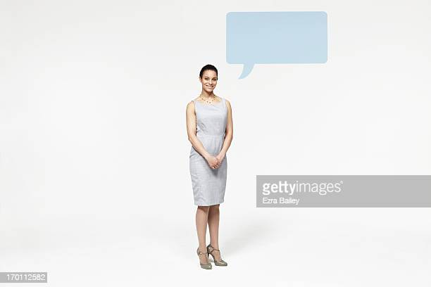 woman with speech bubble icon. - sleeveless stock pictures, royalty-free photos & images