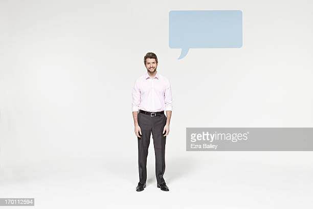 Man with speech bubble icon