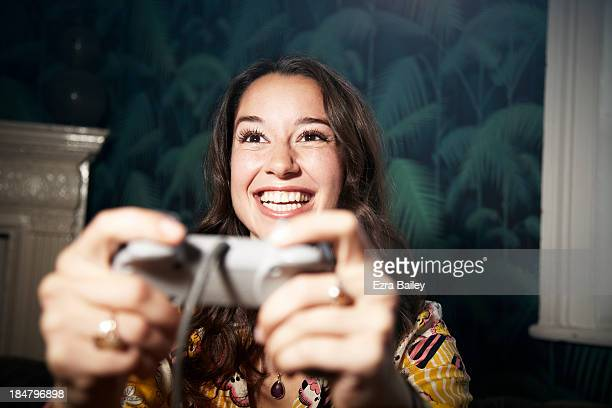 woman playing computer games. - defeat stock pictures, royalty-free photos & images
