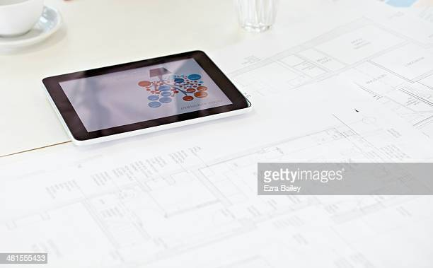 Digital tablet on a white table